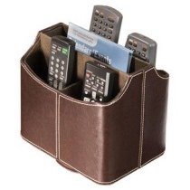 Media Storage Faux Leather Spinning Remote Control Organizer